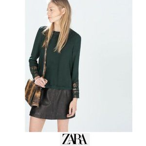 Zara | Green blouse with lace cuffs